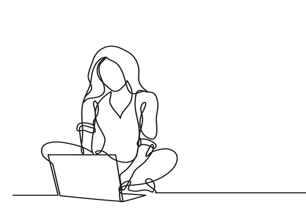 Frau am Computer texterei